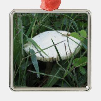 White mushroom on a green meadow square metal christmas ornament
