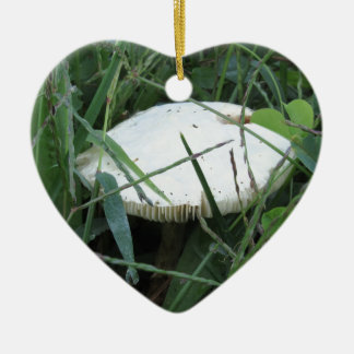 White mushroom on a green meadow Double-Sided heart ceramic christmas ornament