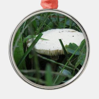White mushroom on a green meadow round metal christmas ornament