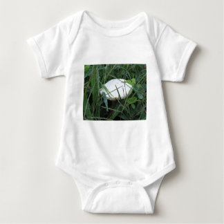 White mushroom on a green meadow tees