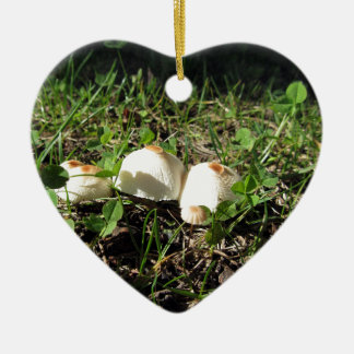 White mushrooms on green background Double-Sided heart ceramic christmas ornament