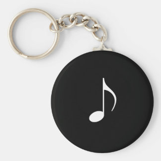 White Music 8th Note On Black background Keychain