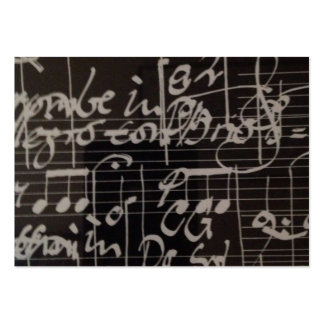 white music notation on black background large business cards (Pack of 100)