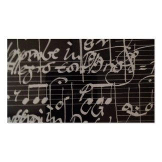 white music notation on black background Double-Sided standard business cards (Pack of 100)