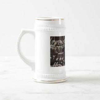 white music notation on black background mug