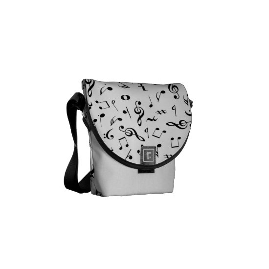 White Music Notes Mini Messenger Bag