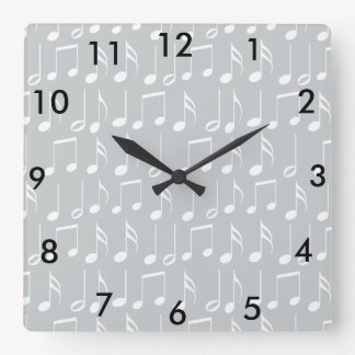 White Music Notes Pattern Square Wall Clock