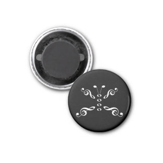 White Music Symbols Butterfly 1 Inch Round Magnet
