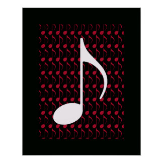 white musical note cool graphic poster
