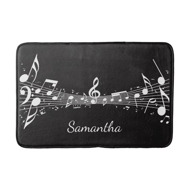 White Musical Notes Design Bath Mat