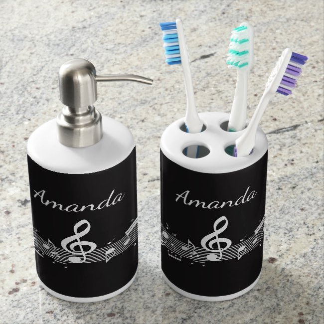 White Musical Notes Design Bathroom Products