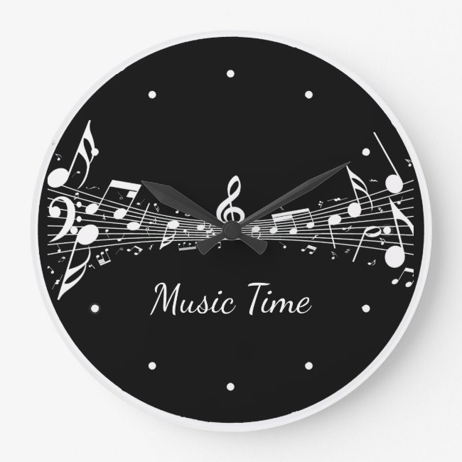 White Musical Notes Design Clock