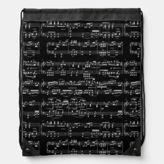 white musical notes on black drawstring backpack
