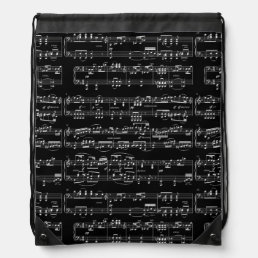white musical notes on black drawstring bag