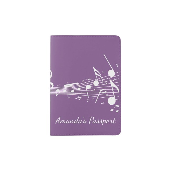 White Musical Notes Passport Cover