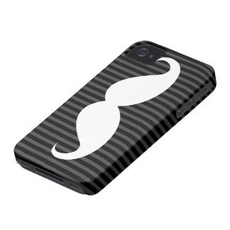 White mustache on black and gray stripes Case-Mate iPhone 4 case