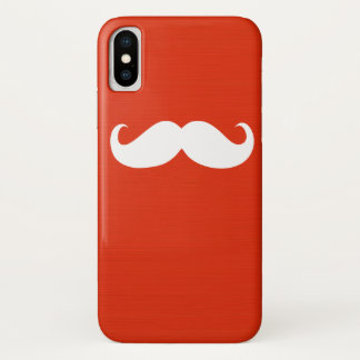 White Mustache on Orange Red Background iPhone X Case