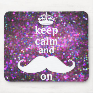 White Mustache With Purple And Pink Sparkle Mouse Pad