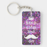 White Mustache With Purple And Pink Sparkle Single-Sided Rectangular Acrylic Keychain