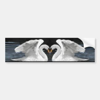 White Mute Swan Mirror Image Bumper Sticker