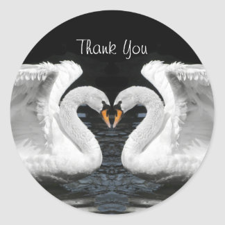 White Mute Swan Mirror Image- Thank You Classic Round Sticker