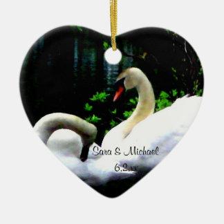 White Mute Swans Ceramic Ornament