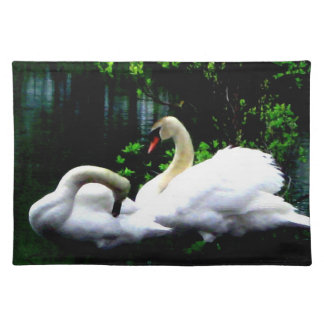 White Mute Swans Cloth Place Mat