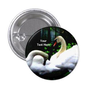 White Mute Swans Custom 1 Inch Round Button