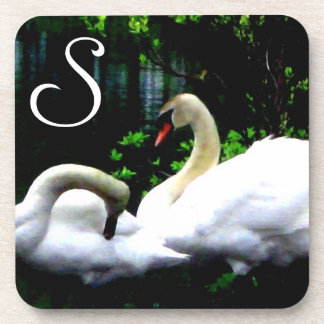 White Mute Swans Monogrammed Drink Coaster