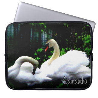 White Mute Swans Personalized Laptop Sleeve