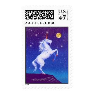 White Mythical Unicorn Full Moon Postage
