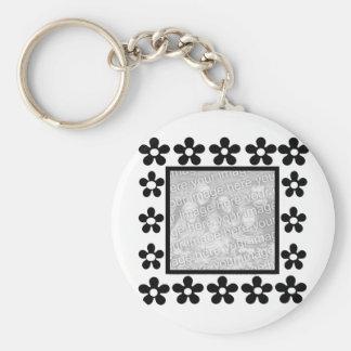 White n black flower frame key chain