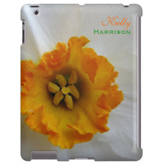 White N Orange Daffodil Personalized iPad Case