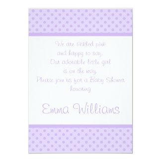 White n Purple Polka Dot Baby Shower Invitation