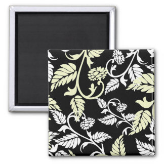 White-n-Yellow Feathery Swirls 2 Inch Square Magnet