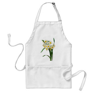 White Narcissus by Pierre-Joseph Redoute Adult Apron