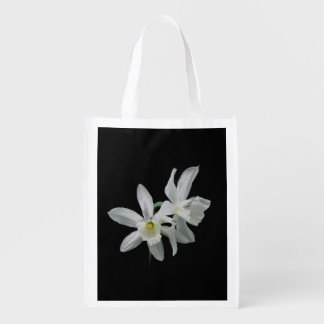 White Narcissus Reusable Grocery Bag