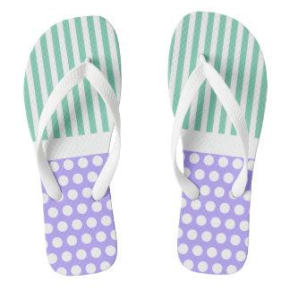 White Narrow Stripes & Dots + your backg. & ideas Flip Flops
