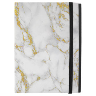 "White Natural Marble Stone Gold Accent iPad Pro 12.9"" Case"