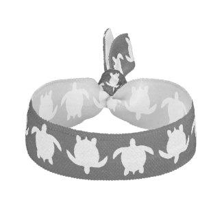 White Nature Reptile Turtle Pattern on Black Elastic Hair Tie