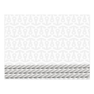 White Nautical Anchor Design with Rope Postcard