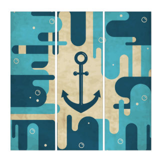 White Nautical Anchor Design with Rope Triptych