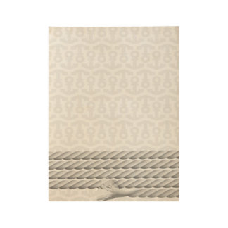 White Nautical Anchor Design with Rope Wood Poster
