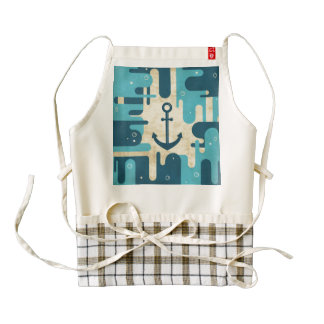 White Nautical Anchor Design with Rope Zazzle HEART Apron
