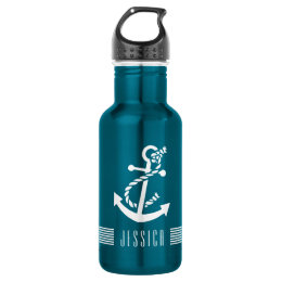 White Nautical Boat Anchor 4 & White Stripes Stainless Steel Water Bottle