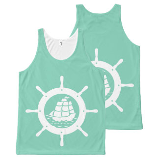 White Nautical Boat Wheel Over Mint-Green All-Over-Print Tank Top