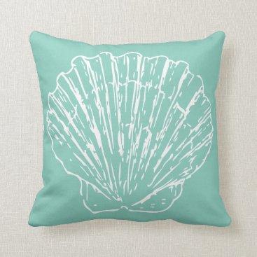 Beach Themed White Nautical Seashells Pattern On Seafoam Green Throw Pillow