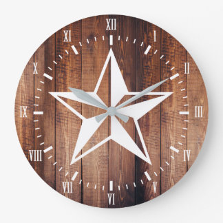 White Nautical Star Barn Wood Planks Large Clock