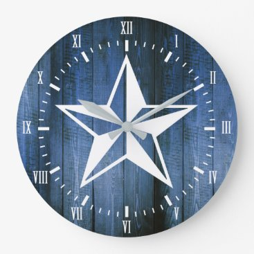 Beach Themed White Nautical Star Blue Wooden Planks Large Clock