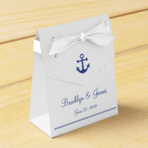 White Nautical Wedding Favor Boxes With Anchor
